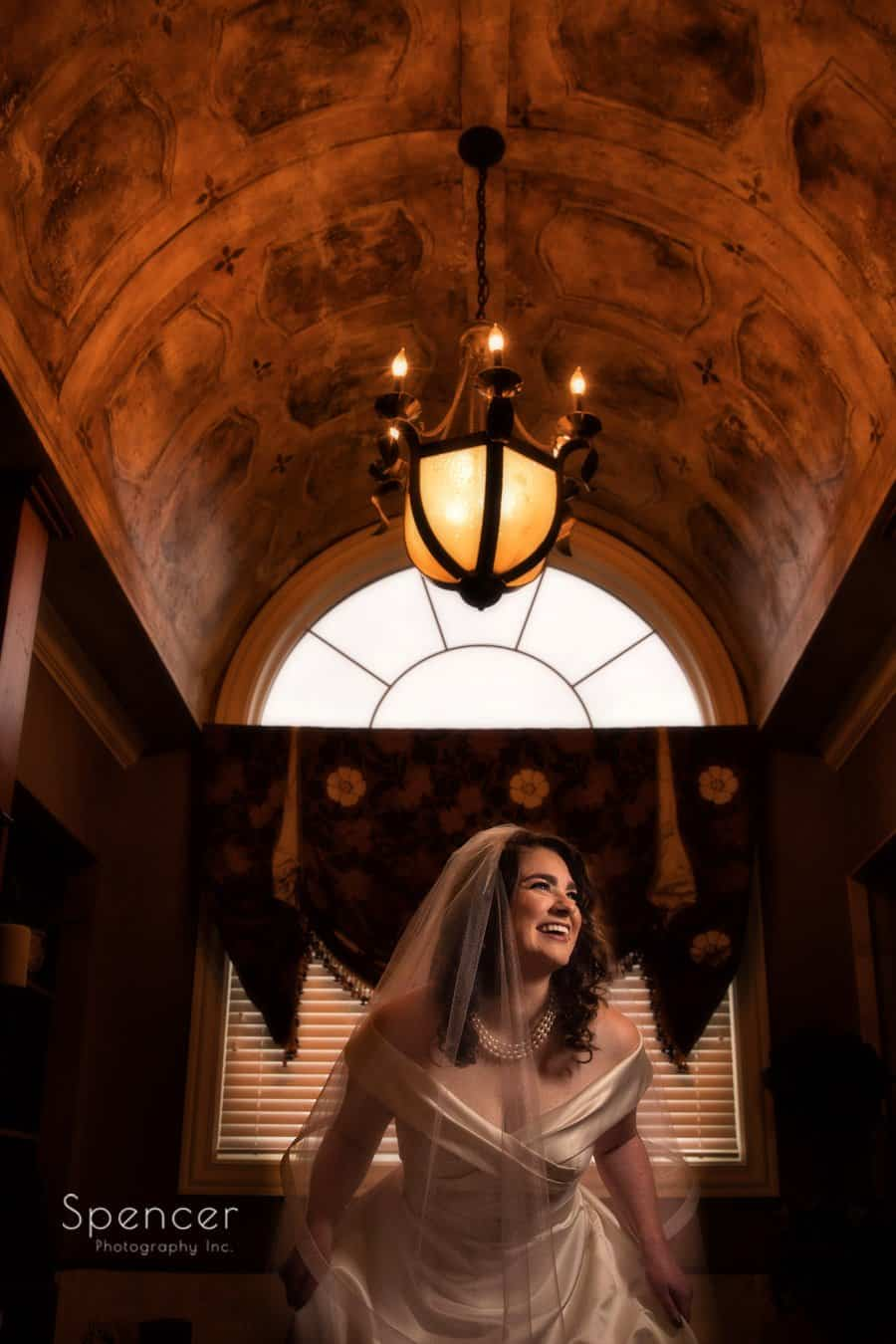 creative picture of bride on her wedding day