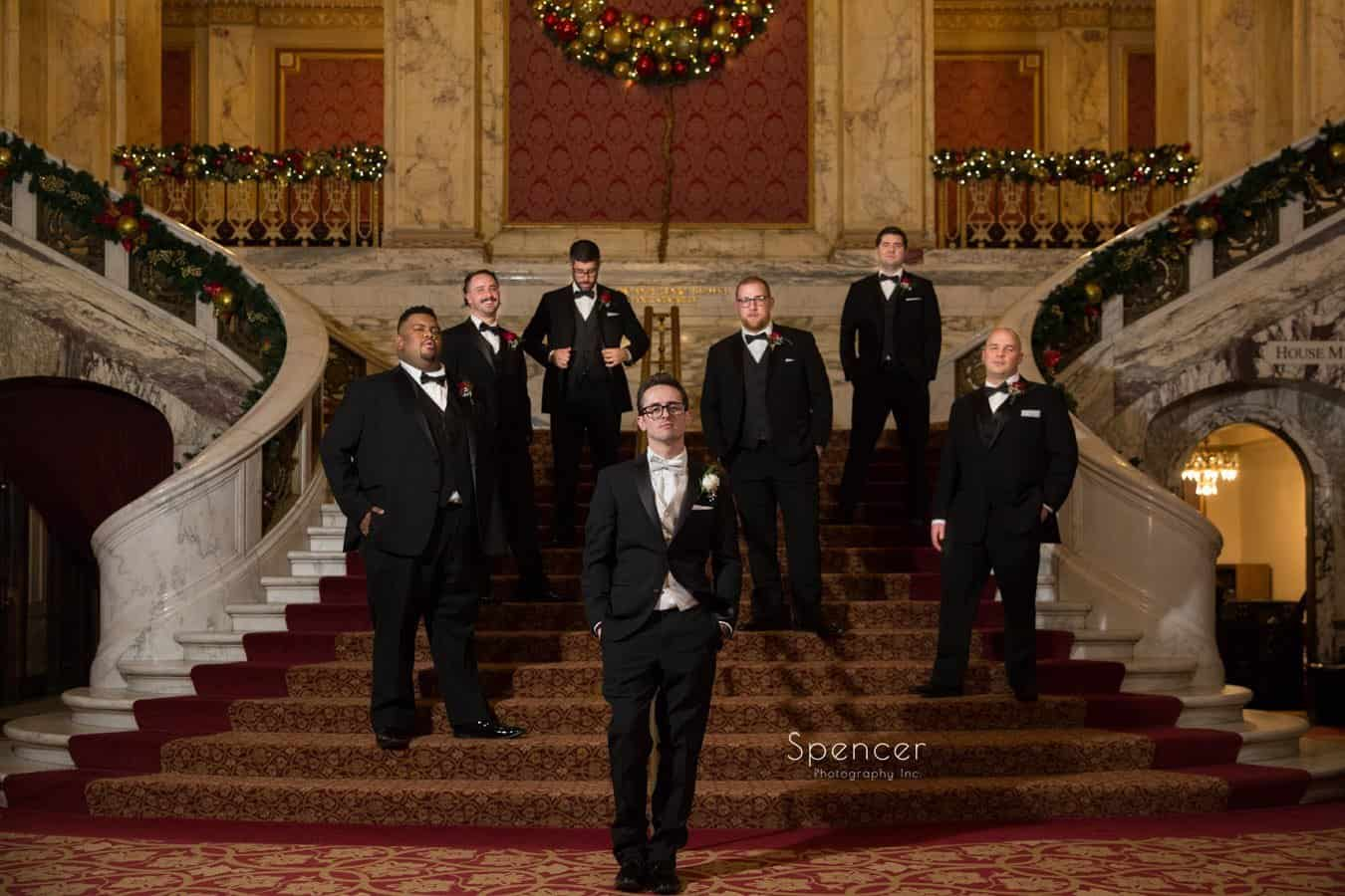 picture of groomsmen at christmas wedding at playhouse square