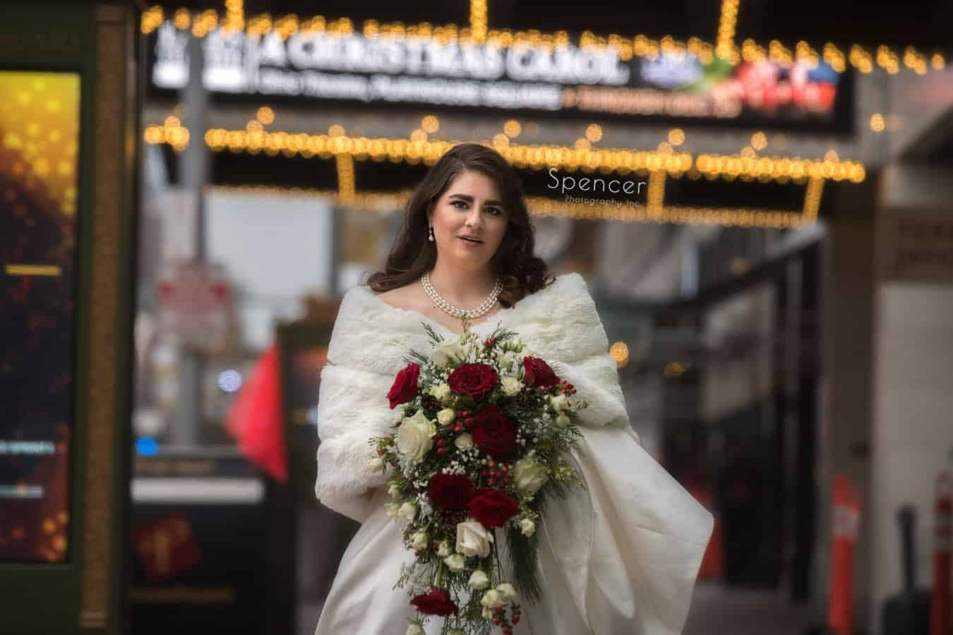 glamourous picture of christmas bride in playhouse square