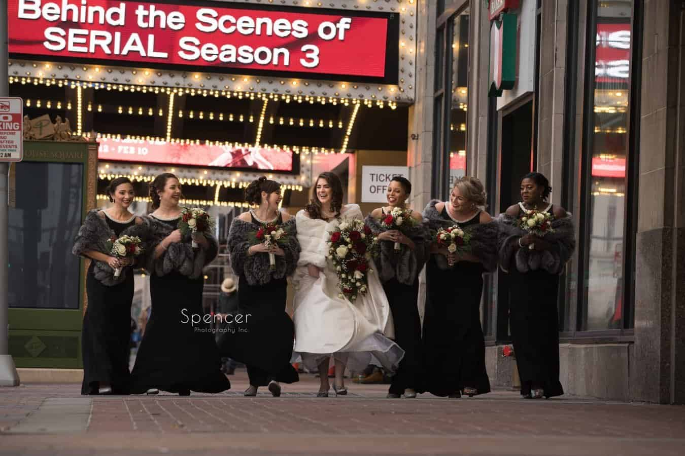 christmas wedding party walking in playhouse square