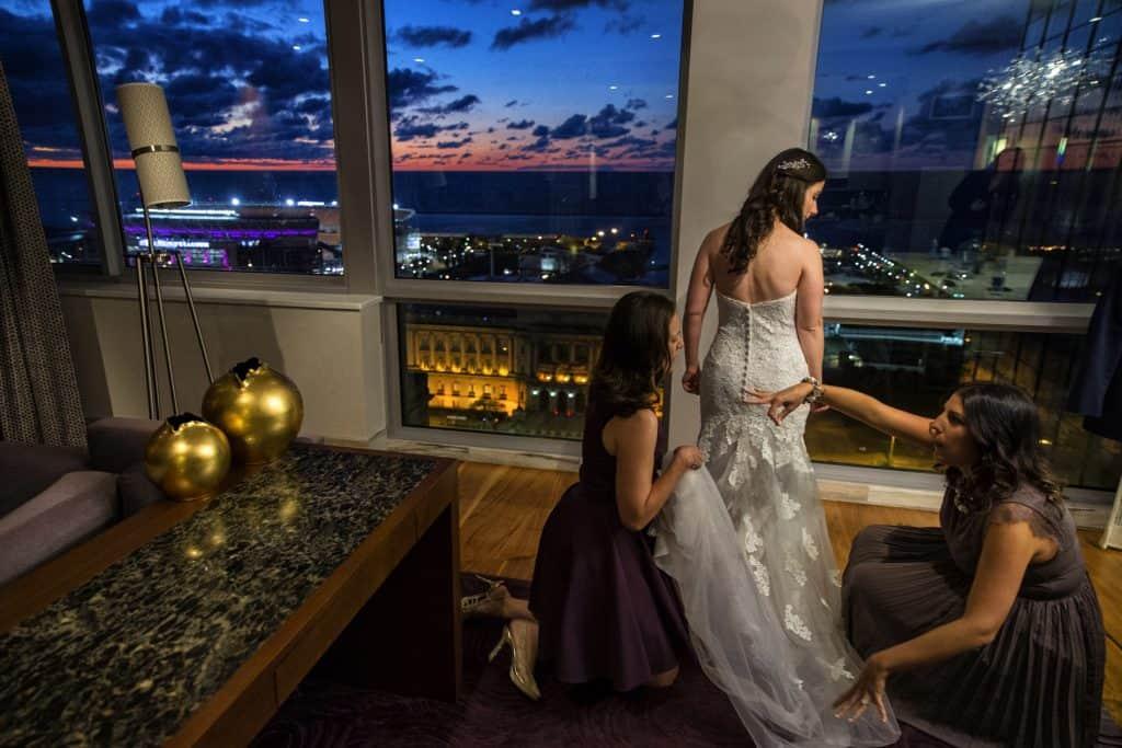 bride bustling dress at cleveland westin