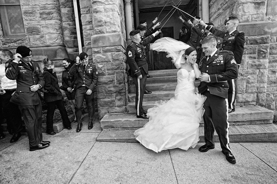 brides veil blowing at her wedding in cleveland