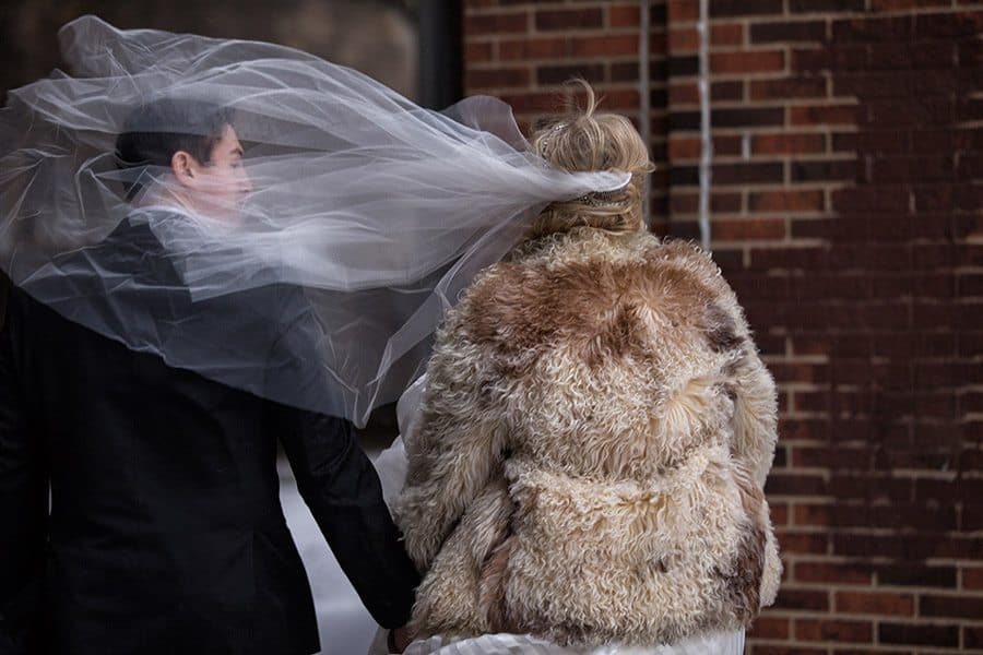 cleveland wind blowing brides veil on groom