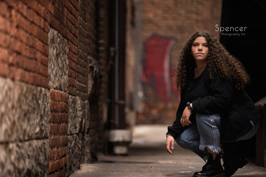 senior picture in alleyway in downtown Cleveland