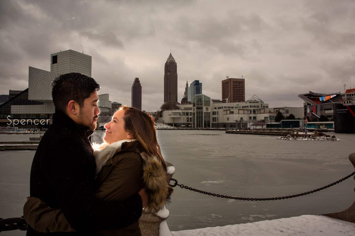 winter engagement picture in cleveland
