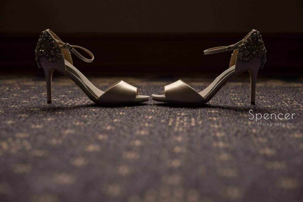 brides shoes before her wedding at Grace Church