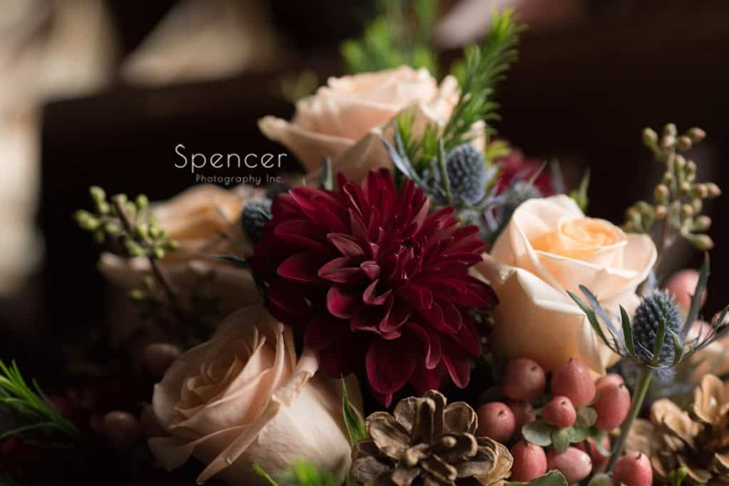 wedding day bouquet at Grace Church Cleveland