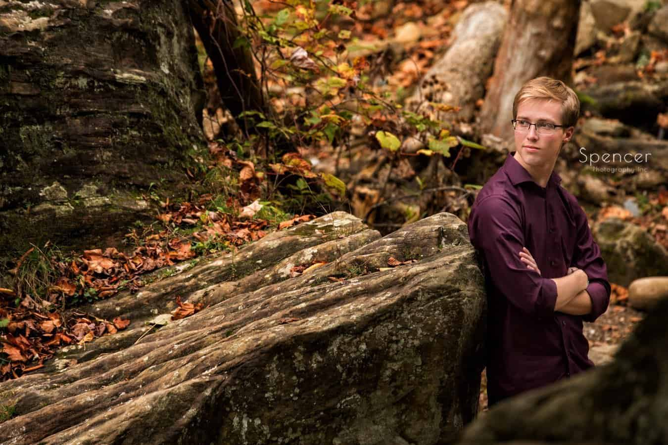 brecksville fall senior portrait with student standing cleveland park