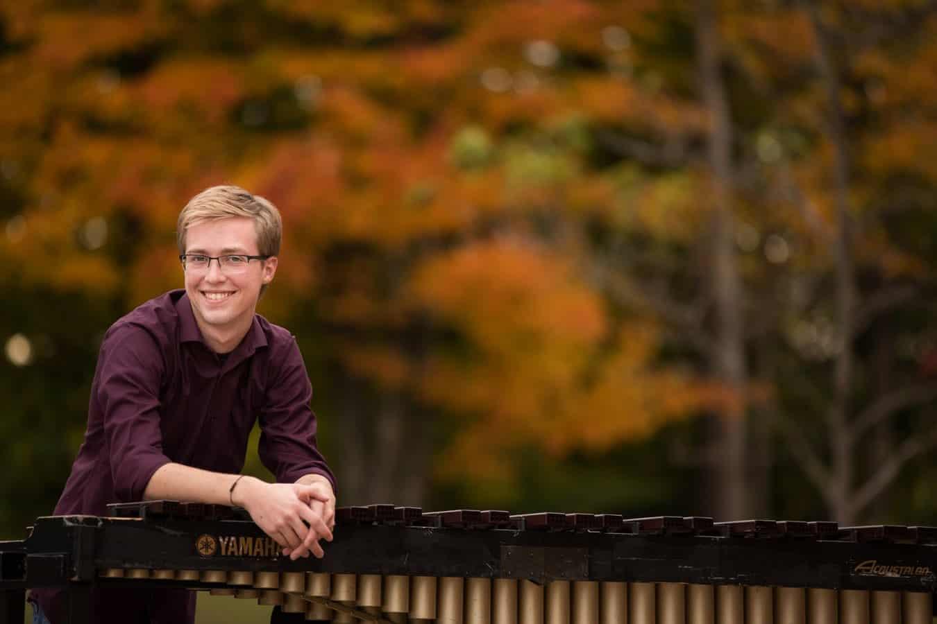 cleveland high school senior in portrait with musical instrument
