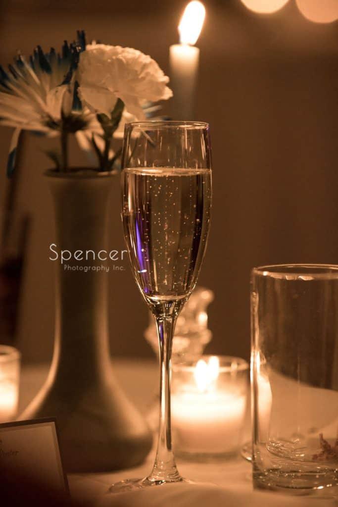 champagne glass at Vosh wedding reception