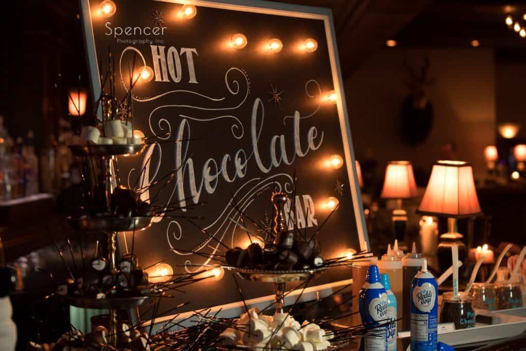 wedding reception sign at wedding reception at Vosh Nightclub