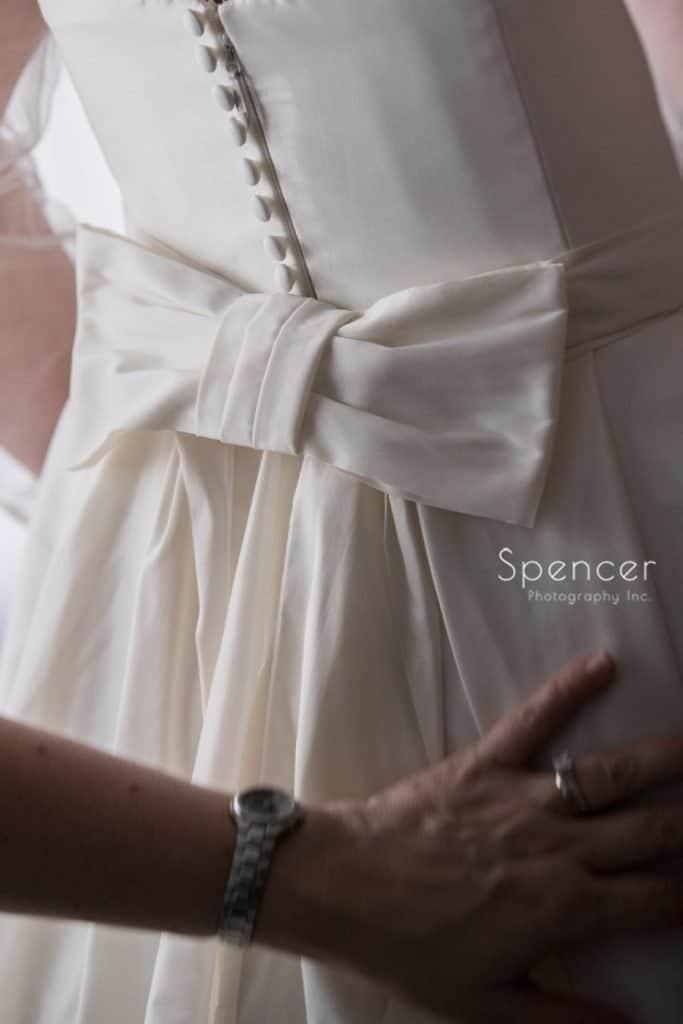 wedding dress detail of bow at Vosh wedding