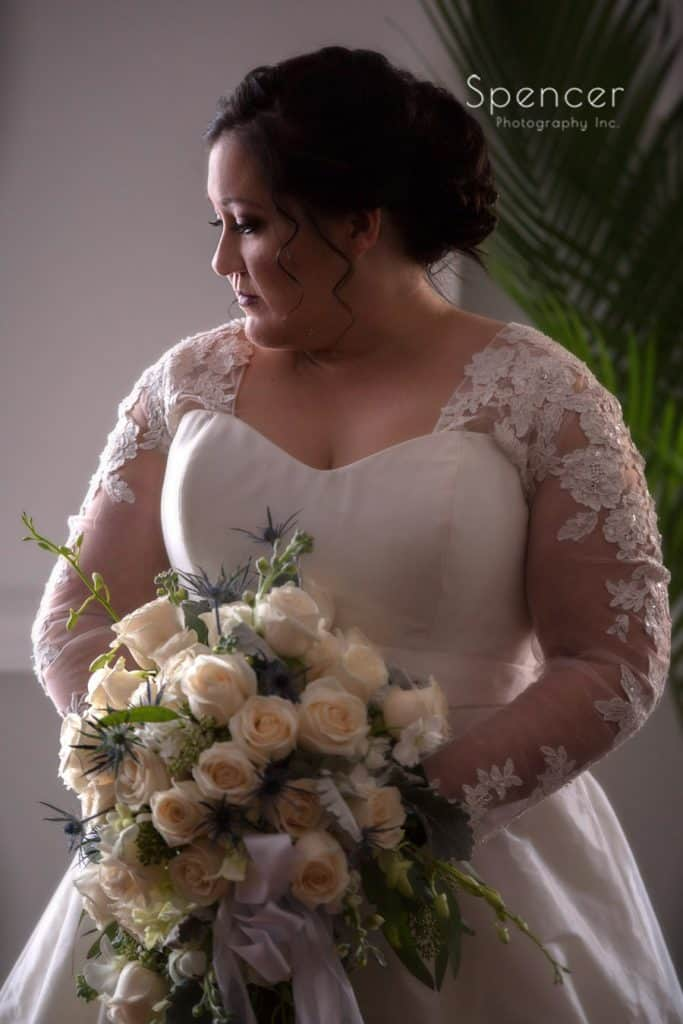 wedding day portrait of bride at Vosh Lakewood