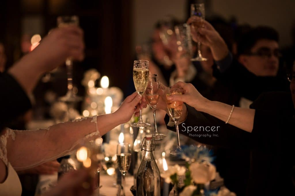 wedding reception toast at Vosh Nightclub