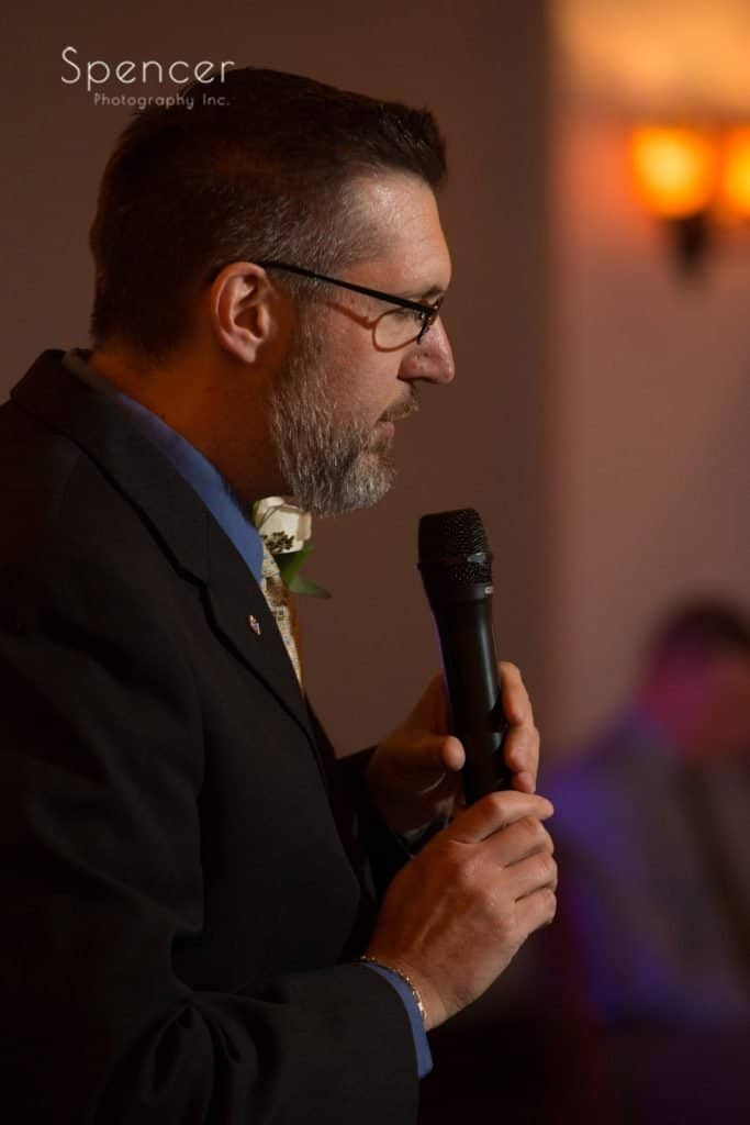 brides brother gives blessing at Vosh wedding reception