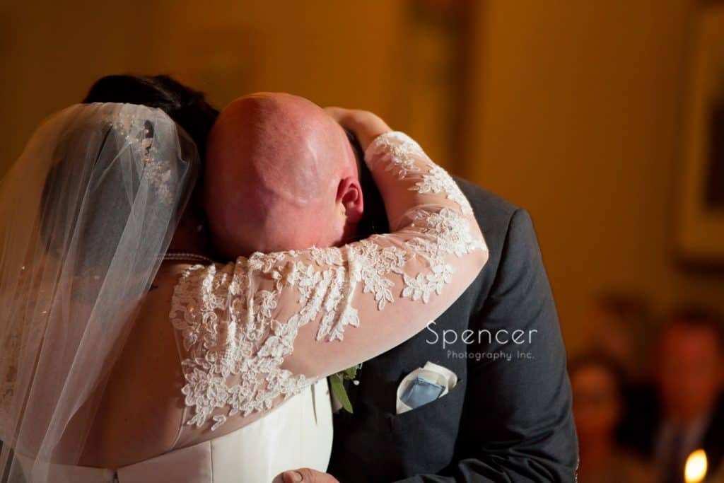 groom gets emotional during first dance at Vosh