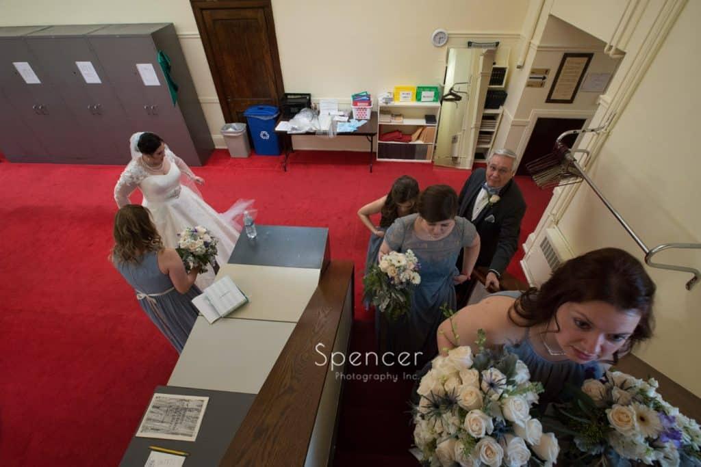 bridesmaid headed to wedding ceremony at Lakewood United Methodist Church