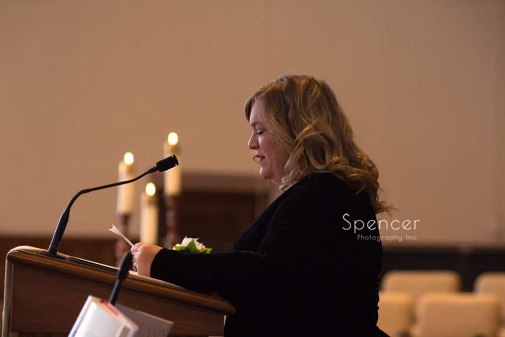 reader at wedding ceremony at Lakewood United Methodist Church