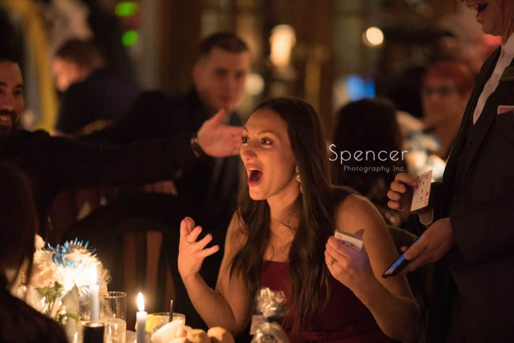 guest reacts to magician at Vosh wedding reception