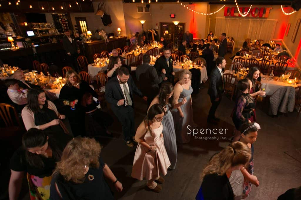 wedding guests dancing at Vosh reception