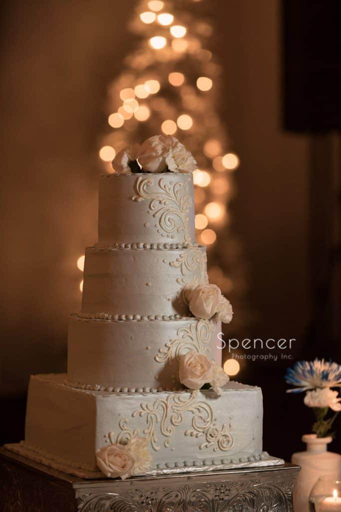 wedding cake at wedding reception at Vosh Nightclub