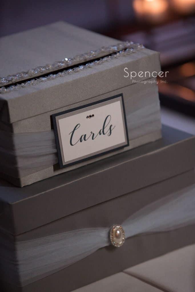 cardbox detail at wedding reception at Vosh