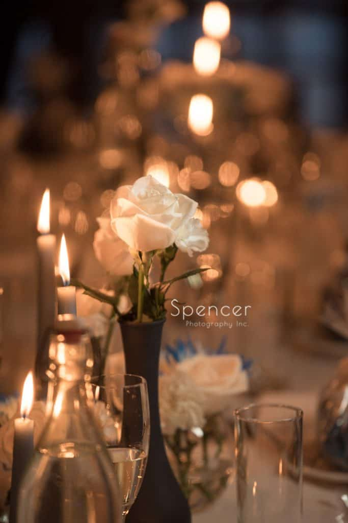 centerpiece flower detail at Vosh wedding reception