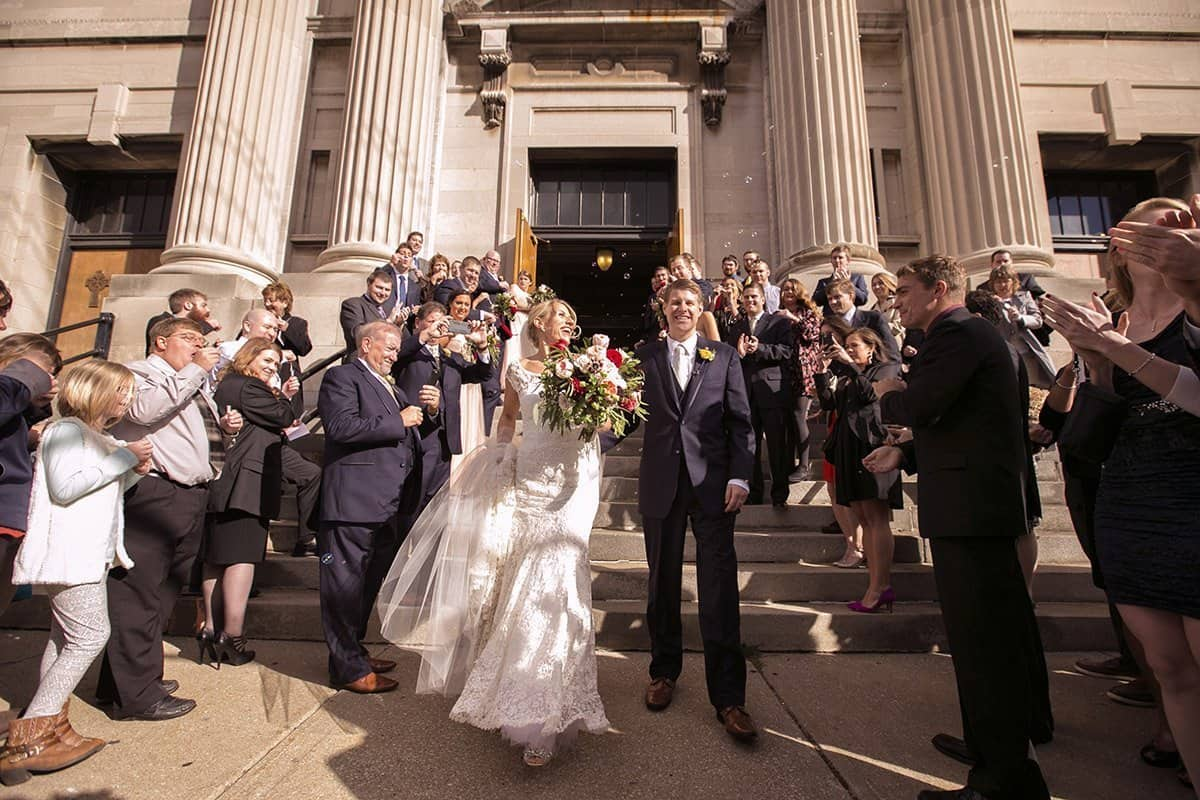 bride and groom exit their cleveland wedding ceremony