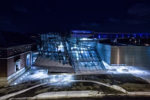 night picture at akron art museum