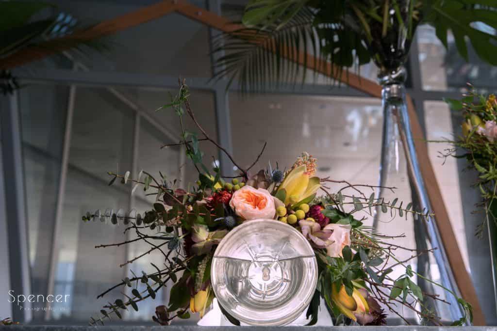 Florat headpiece at Akron Art Museum wedding event