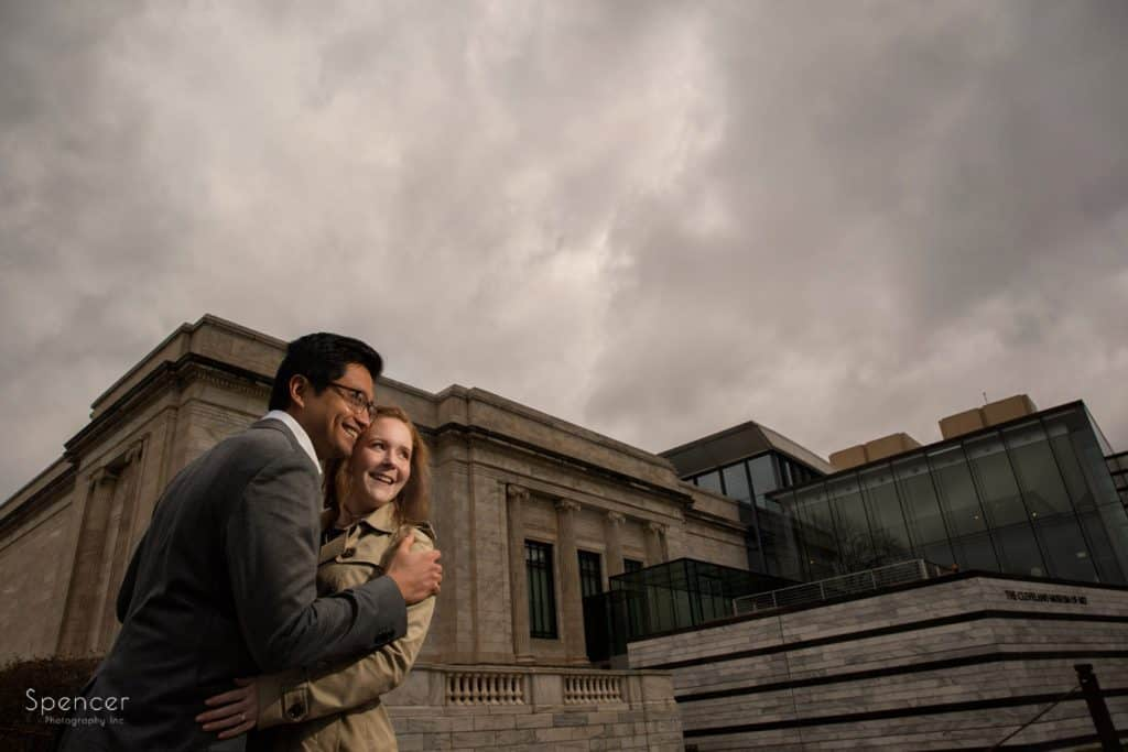couple hugging during pictures at Cleveland Museum of Art