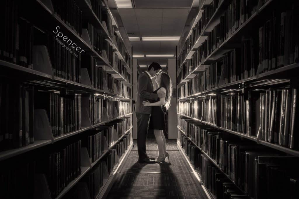 sepia engagement picture in Case Western Reserve Library
