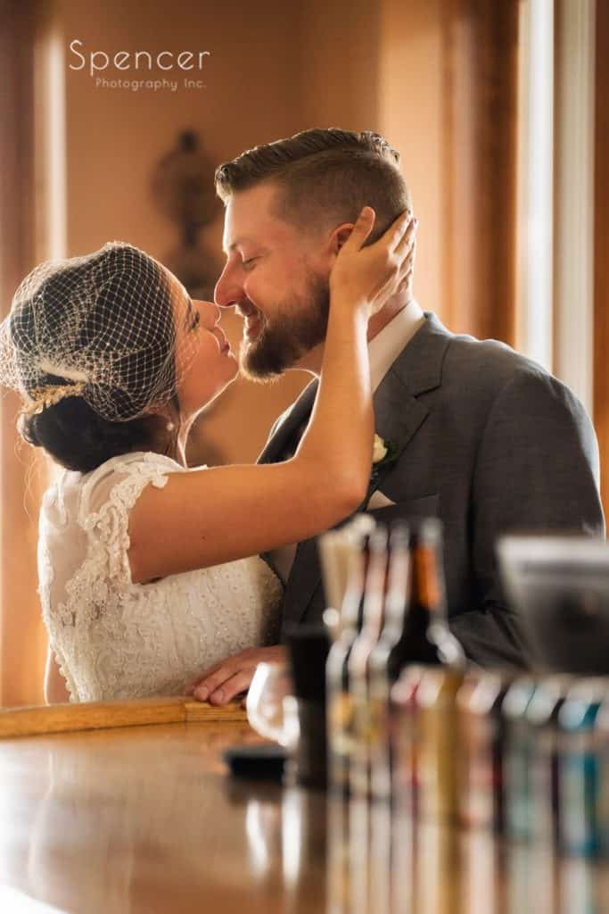 bride kissing groom after wedding ceremony in Cleveland