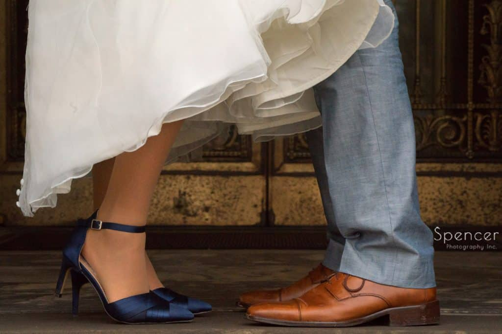 wedding picture of shoes at Severance Hall Cleveland