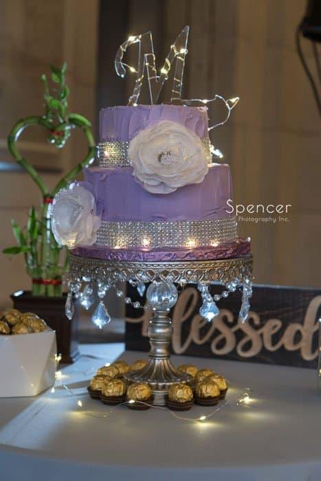 wedding cake at reception at Ariel Pearl