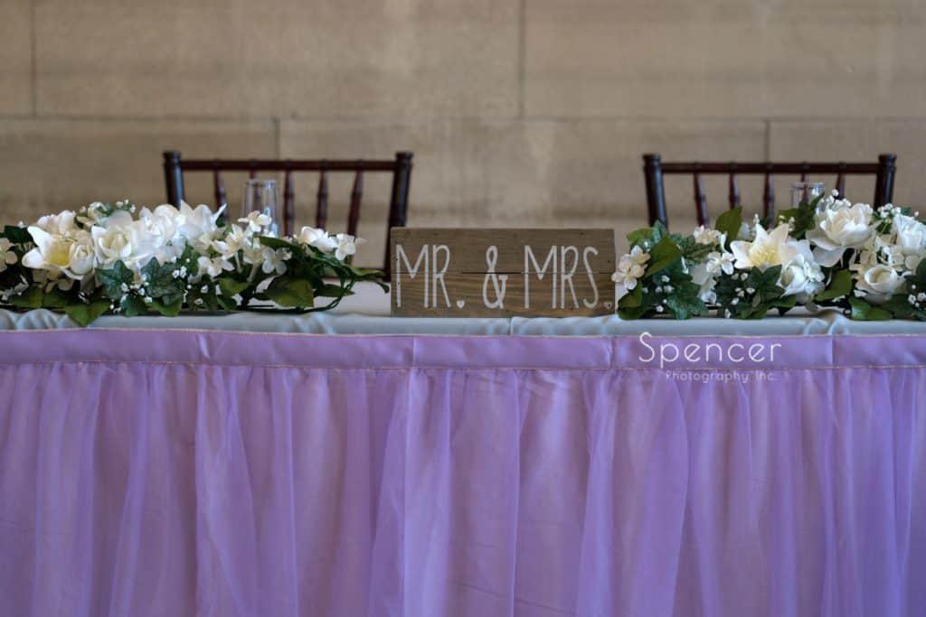 head table at Ariel Pearl wedding reception