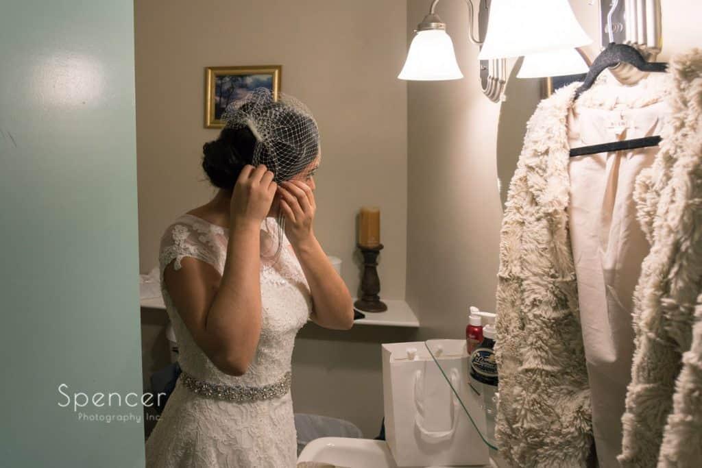 bride preparing for her wedding in Geneva on the Lake