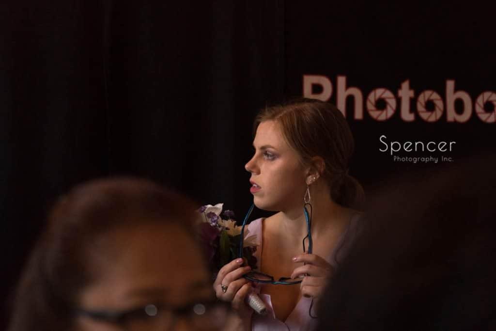 bridesmaid at wedding reception at Ariel Pearl Cleveland