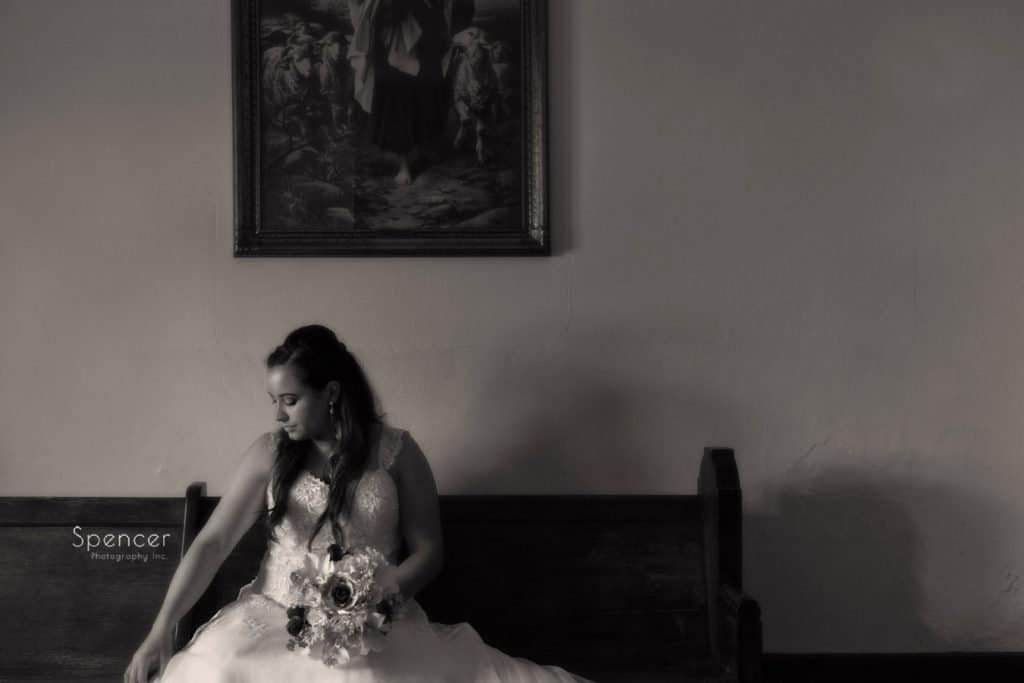 sepia wedding picture of bride at Mary Queen of Peace Cleveland