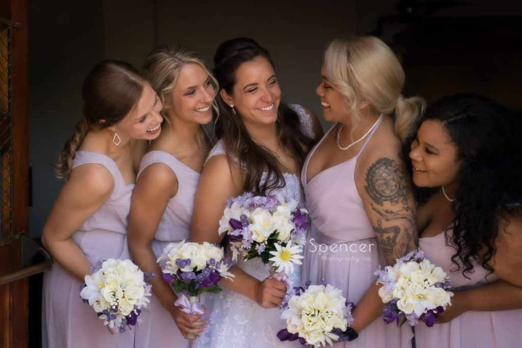 wedding day picture of bridesmaids at Mary Queen of Peace Church Cleveland