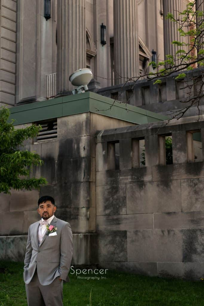 picture of groom on Sunday wedding in Cleveland