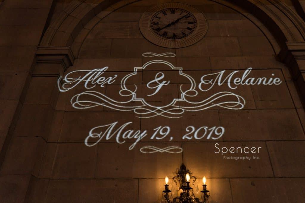 wedding reception monogram at Cleveland Ariel Pearl