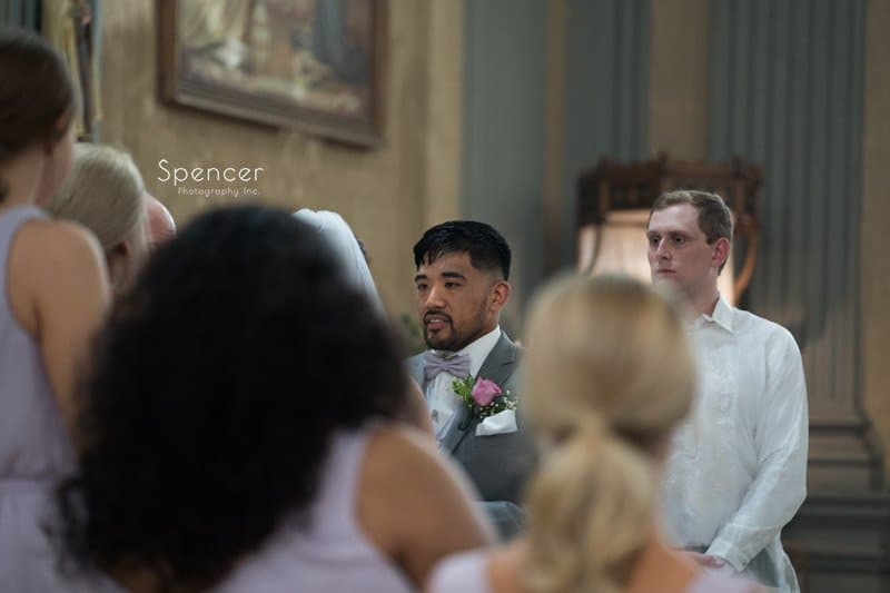 groom talking to bride at Cleveland wedding ceremony