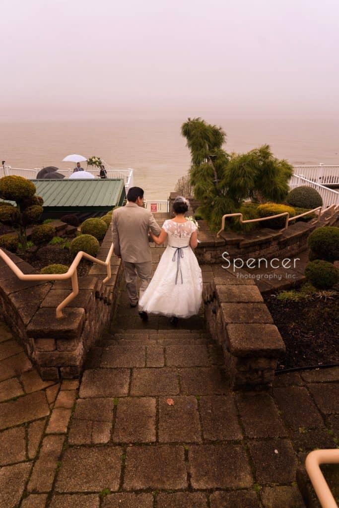 dad walking bride to wedding in Geneva