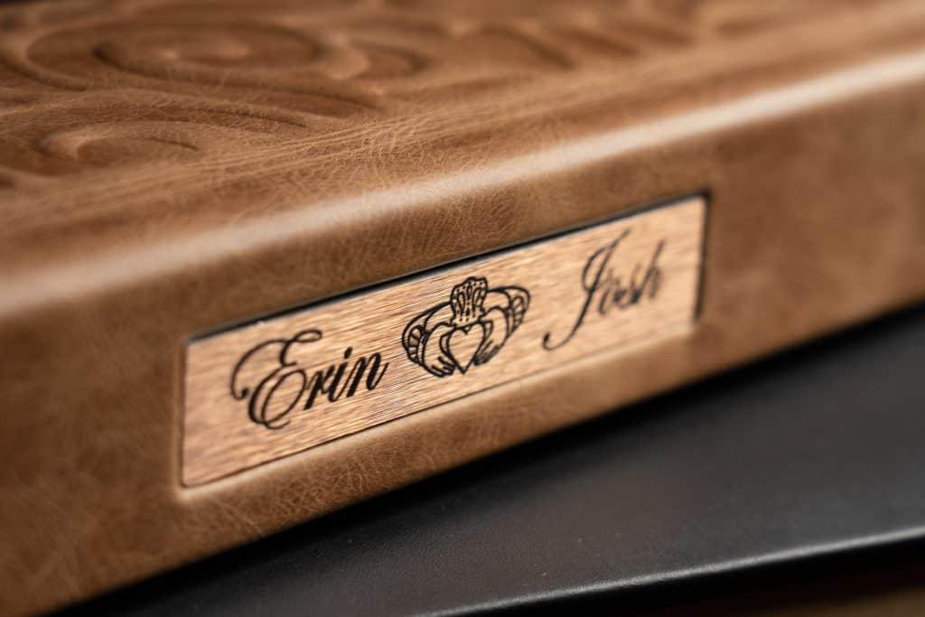 spine detail of custom parent wedding album