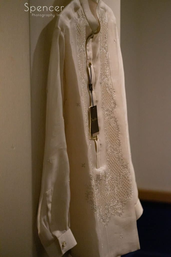 Fillipino wedding shirt at Kimpton Schofield Hotel