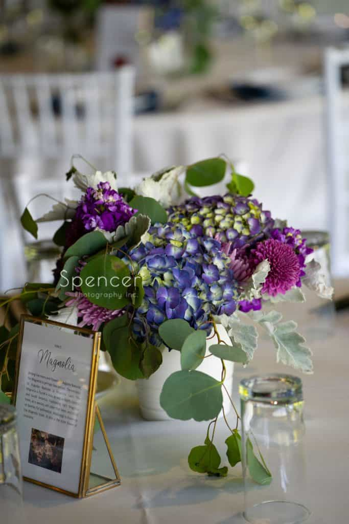 wedding reception centerpiece at Columbia Hills Country Club