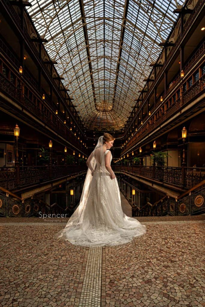 picture of bride in Cleveland Arcade