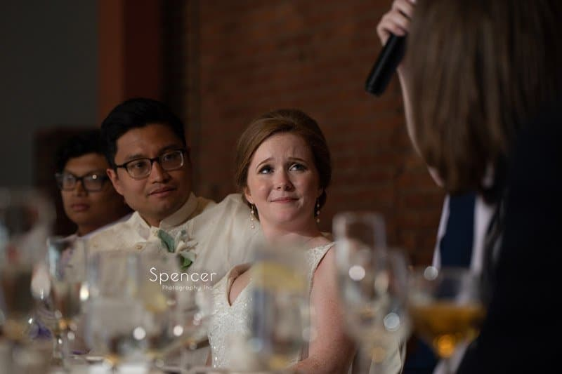bride reacting to speech at wedding reception at Windows on the River
