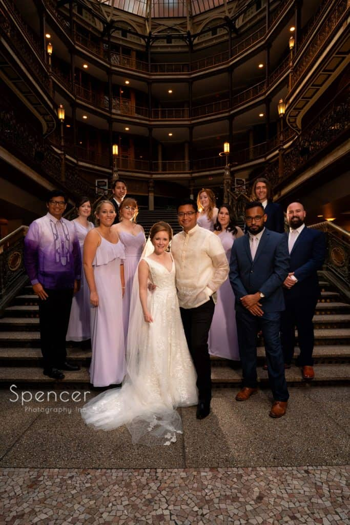 wedding day picture of bridal party at Cleveland Arcade